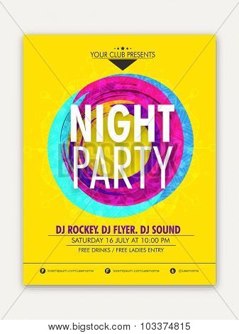 Night Party celebration, one page Flyer, Banner or Template with date and time details.