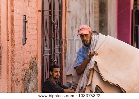 Marrakesh, Morocco - Circa September 2015 - A Guy Carrying Leather To A Tannery