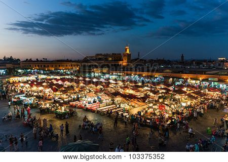 Marrakech, Morocco - Circa September 2015 - Marrakechs Central Place Djemaa El Fna at sunset