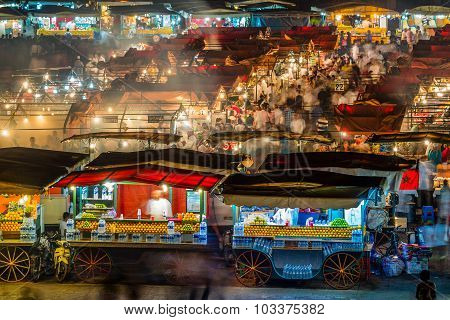 Marrakech, Morocco - Circa September 2015 - Long Exposure Of djemaa el fna at night