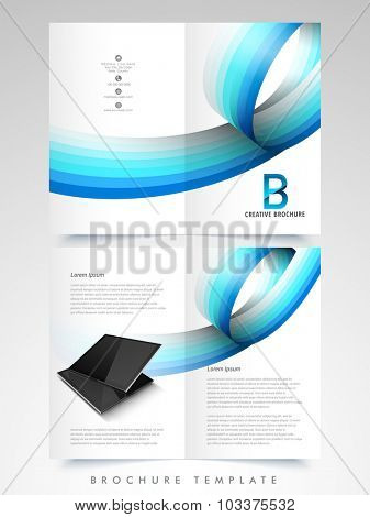 Creative Business Brochure, Template or Flyer design with glossy stripe and digital devices.