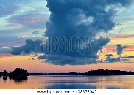 White Nights. Lake Pongoma. Karelia, Russia
