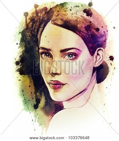 Illustration of young lady. Hand drawn woman's portrait. Pretty girl. Watercolor drawing of beautiful female face.
