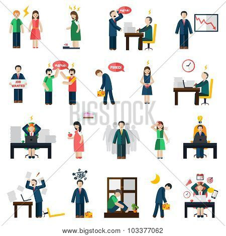 Stress depression mental health icons set