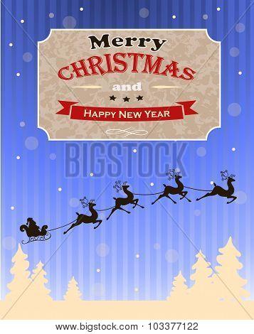 Vintage vector Christmas card design