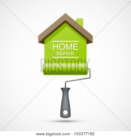 House repair icon. Paint roller with green house