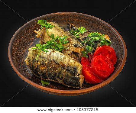 Smoked Fish With Vegetables On A Natural Clay Plate. Mackerel