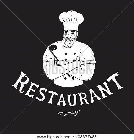 Hand Drawn Happy Chief With Restaurant Logo