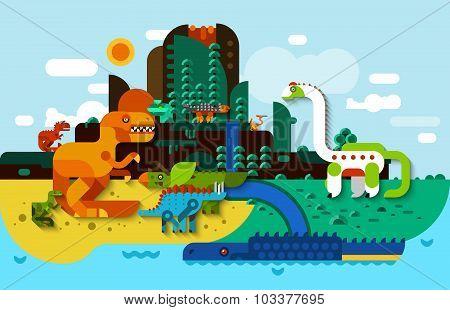 Dinosaur Flat Background
