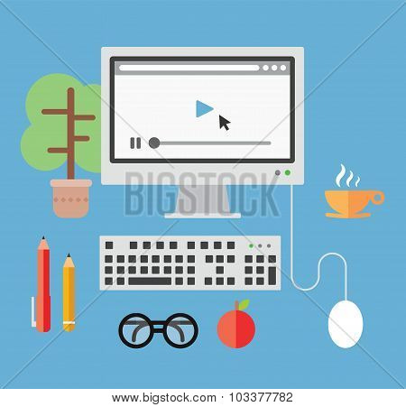 Desktop computer and objects