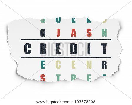 Finance concept: Credit in Crossword Puzzle