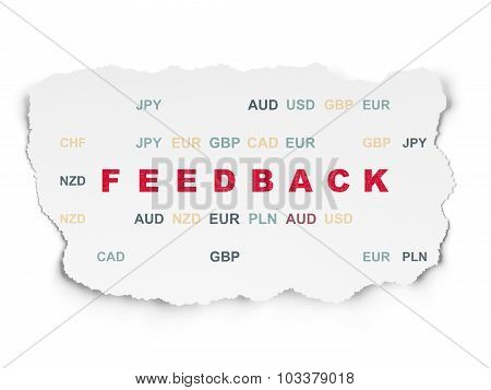 Business concept: Feedback on Torn Paper background