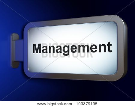 Finance concept: Management on billboard background