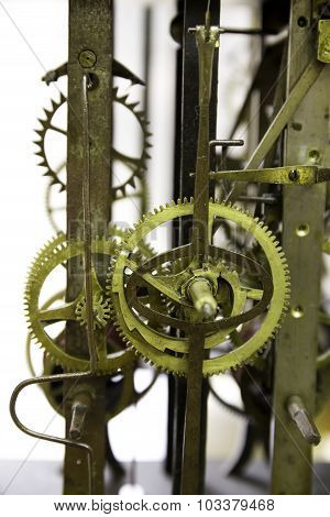 Close Up View Of Greasy And Rusty Old Wall Clock Mechanism With Gears