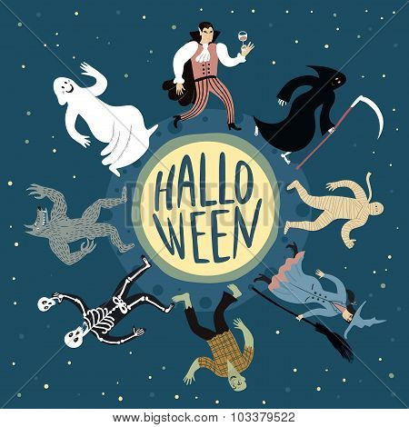 Cartoon Halloween Poster.