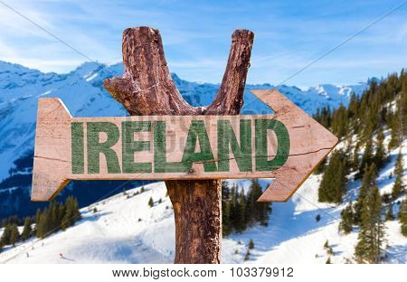 Ireland wooden sign with winter background