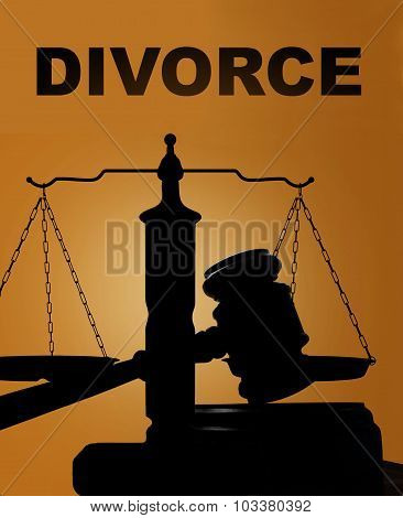 Divorce And Gavel With Scales