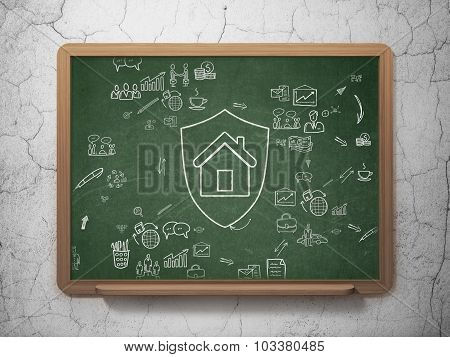 Business concept: Shield on School Board background