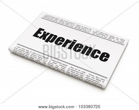 Finance concept: newspaper headline Experience