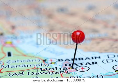 Doha pinned on a map of Asia