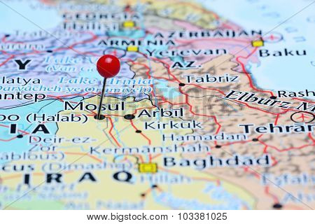 Mosul pinned on a map of Asia
