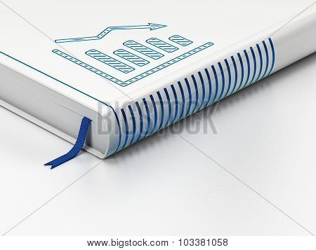 Business concept: closed book, Decline Graph on white background