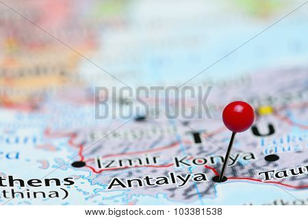 Antalya pinned on a map of Asia