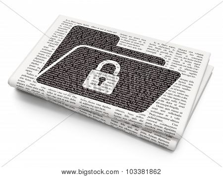 Business concept: Folder With Lock on Newspaper background