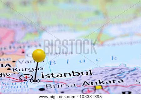 Istanbul pinned on a map of Asia