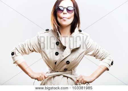 Losing Weight, Woman In Coat Tightening Her Belt