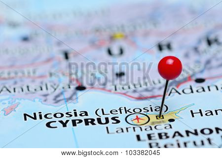 Nicosia pinned on a map of Asia