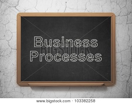 Business concept: Business Processes on chalkboard background