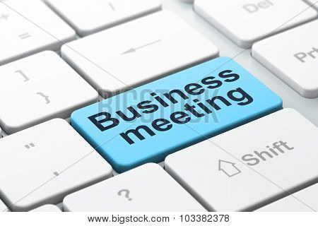 Business concept: Business Meeting on computer keyboard background
