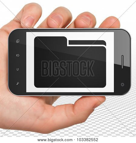 Business concept: Hand Holding Smartphone with Folder on display