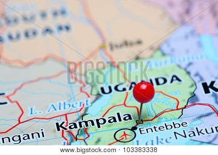 Kampala pinned on a map of Asia
