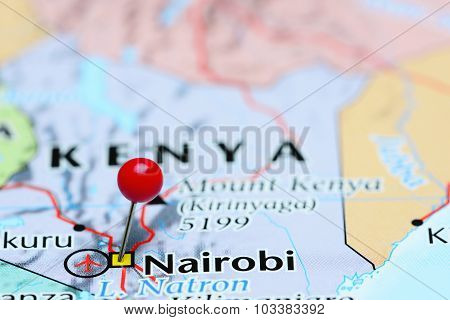 Nairobi pinned on a map of Asia