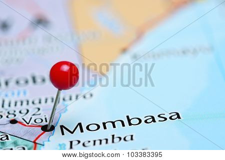 Mombasa pinned on a map of Asia