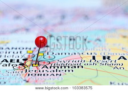 Amman pinned on a map of Asia
