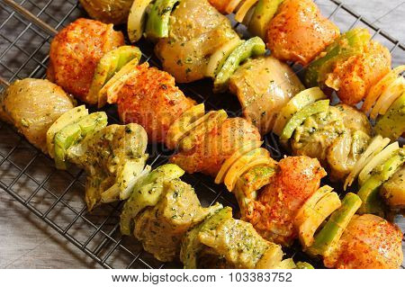 Chicken Tikka kebob on skewers ready for grilling