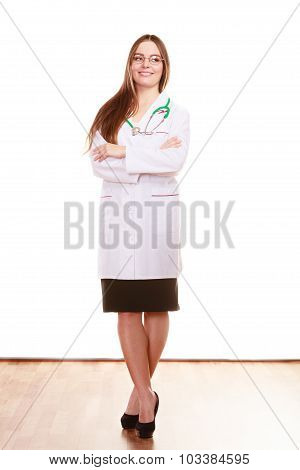 Smiling Woman Medical Doctor With Stethoscope.