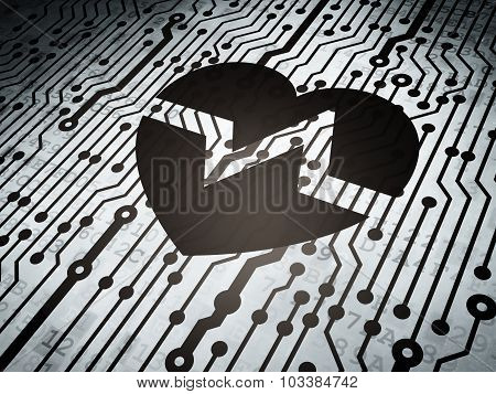 Health concept: circuit board with Heart