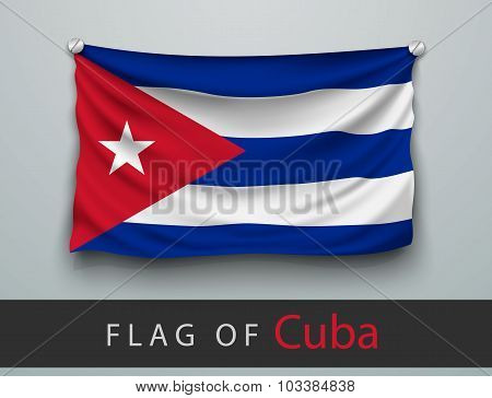 Flag Of Cuba Battered, Hung On The Wall