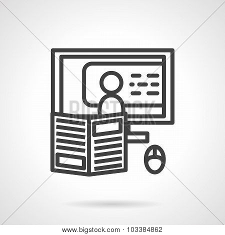 Online teaching simple line vector icon