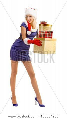 Sexy Blonde In A Santa Claus Costume With Christmas Presents