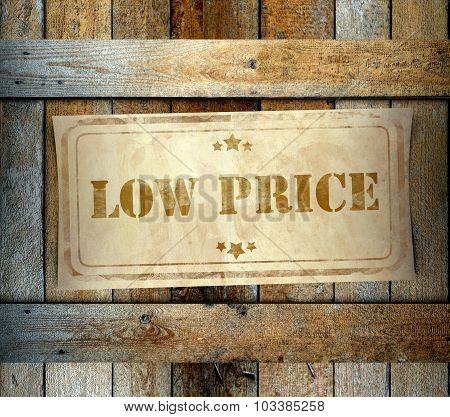 Stamp Low Price Label Old Wooden Box