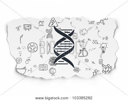 Science concept: DNA on Torn Paper background
