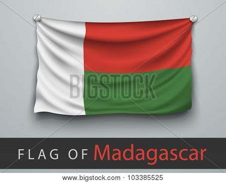 Flag Of Madagascar Battered, Hung On The Wall