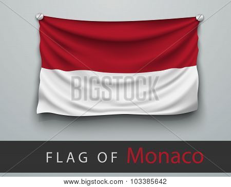 Flag Of Monaco Battered, Hung On The Wall