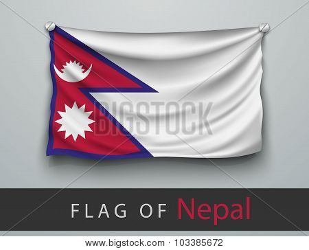 Flag Of Nepal Battered, Hung On The Wall