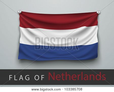 Flag Of Netherlands Battered, Hung On The Wall
